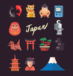 set of flat japan icon vector image