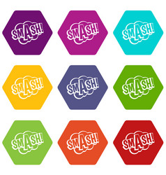Smash comic book bubble text icon set color vector