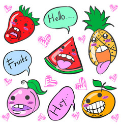 smile fruit character cartoon doodles vector image vector image