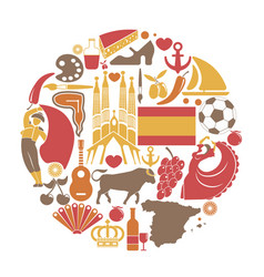 Spain travel sightseeing icons and spanish vector
