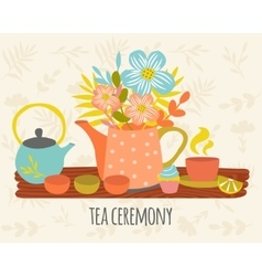 Tea Ceremony Hand Drawn Design vector image