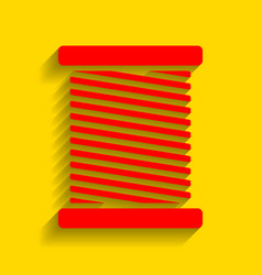 Thread sign red icon with vector