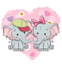 two cute cartoon elephants vector image