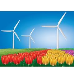 Wind turbine on tulip field vector
