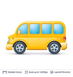 yellow bus isolated on white vector image vector image