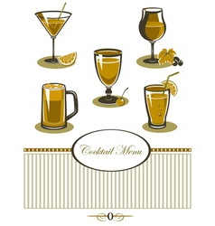 Drinks icons set orange menu vector image
