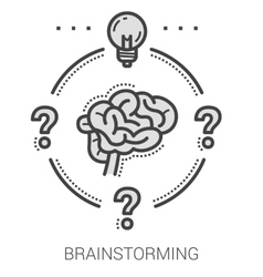 Brainstorming line icons vector image