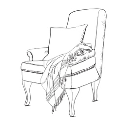 Chair sketch style  blanket on vector