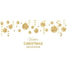 Horizontal banner with hanging christmas balls and vector image