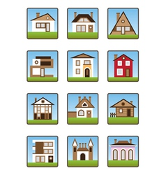 Private houses and homes icons set vector