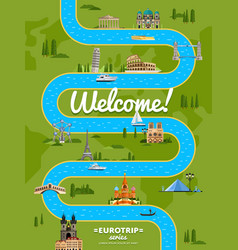 Welcome to europe poster with famous attractions vector