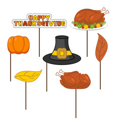 Thanksgiving set photo props for photo shoot vector