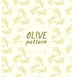 Seamless pattern ink drawn olive branch vector