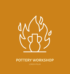 Pottery workshop ceramics classes line icon clay vector