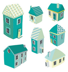 Cute isometric houses vector