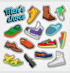 Mens fashion doodle male footwear stickers vector
