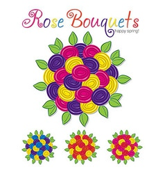 A set of two tone rose bouquets in format vector