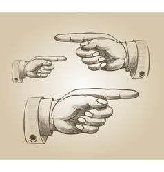 Retro pointing hand vector image