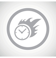 Grey burning clock sign icon vector