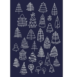 Set of christmas white trees isolated on dark vector