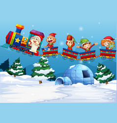 Santa and elf riding on train vector