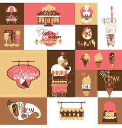 Set for ice cream local business with logotypes vector