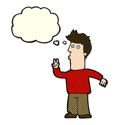 cartoon man signaling with hand with thought vector image
