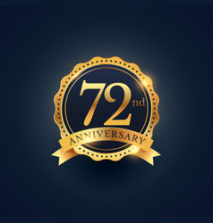 72nd anniversary celebration badge label in vector image vector image