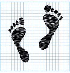 Foot prints with pen effect on paper vector