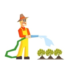 Man watering the garden bed with hose vector