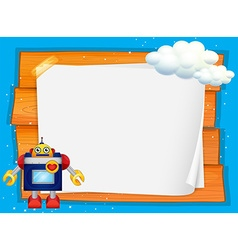 Frame design with robot and cloud vector image