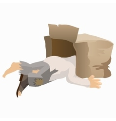 Tramp alcoholic asleep with his head in box vector