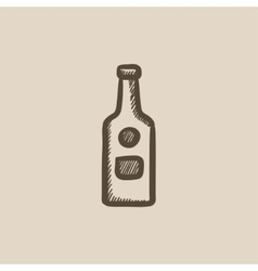 Glass bottle sketch icon vector