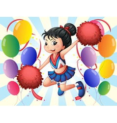 A cheerleader holding red pompoms with balloons vector image vector image