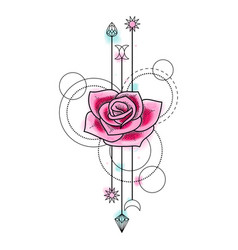 Abstract watercolor rose tattoo vector