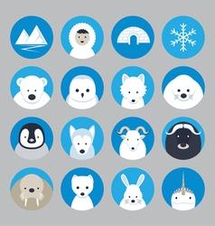 Arctic animals flat icons set vector
