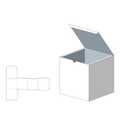 Box with die cut template packing box for food vector
