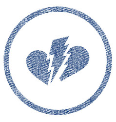 Broken heart rounded fabric textured icon vector