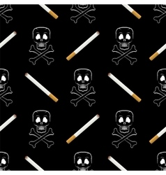 Burning cigarette and skull seamless pattern vector