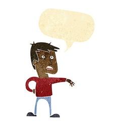 Cartoon man making camp gesture with speech bubble vector