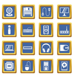 Computer icons set blue vector