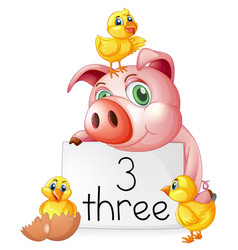 Counting number three with pig and chicks vector