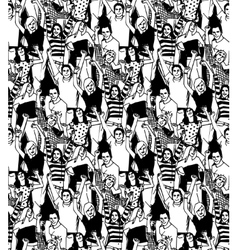 Crowd active happy people seamless black pattern vector image vector image