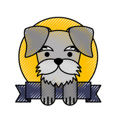 Cute dog mascot with ribbon vector