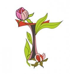 floral font 2 letter t vector image