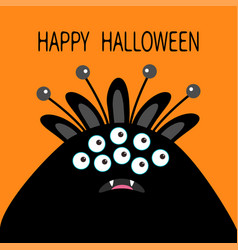 Happy halloween card monster head with ears fang vector