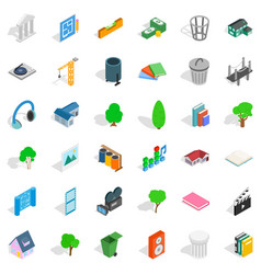 House icons set isometric style vector