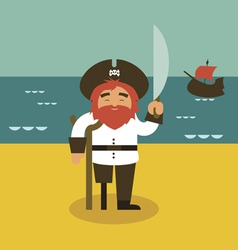 Pirate and sea vector image