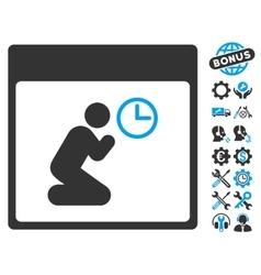Pray clock calendar page icon with bonus vector