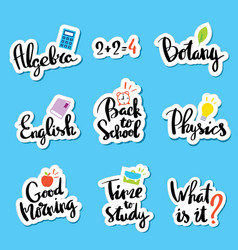 School of sticker collection for comic style chat vector